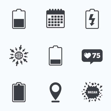 stored: Calendar, like counter and go to web icons. Battery charging icons. Electricity signs symbols. Charge levels: full, half and low. Location pointer. Illustration