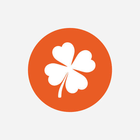 clover button: Clover with four leaves sign icon. Saint Patrick symbol. Orange circle button with icon. Vector