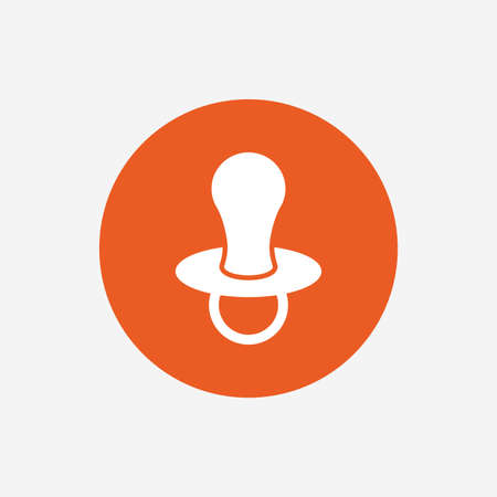 dummy: Babys dummy sign icon. Child pacifier symbol. Orange circle button with icon. Vector