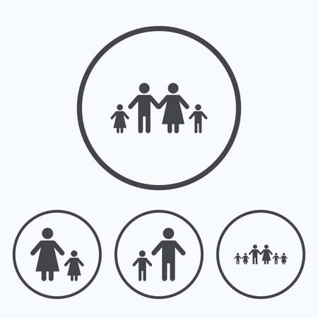 orphan: Large family with children icon. Parents and kids symbols. One-parent family signs. Mother and father divorce. Icons in circles.