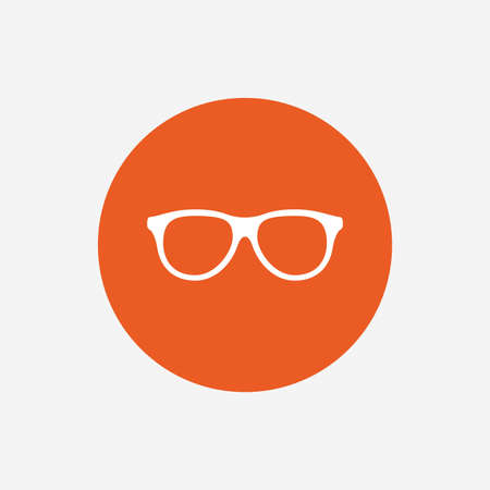 eyeglass: Retro glasses sign icon. Eyeglass frame symbol. Orange circle button with icon. Vector