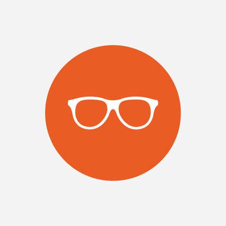 eyeglass frame: Retro glasses sign icon. Eyeglass frame symbol. Orange circle button with icon. Vector