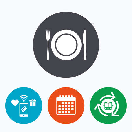 etiquette: Plate dish with fork and knife. Eat sign icon. Cutlery etiquette rules symbol. Mobile payments, calendar and wifi icons. Bus shuttle. Illustration
