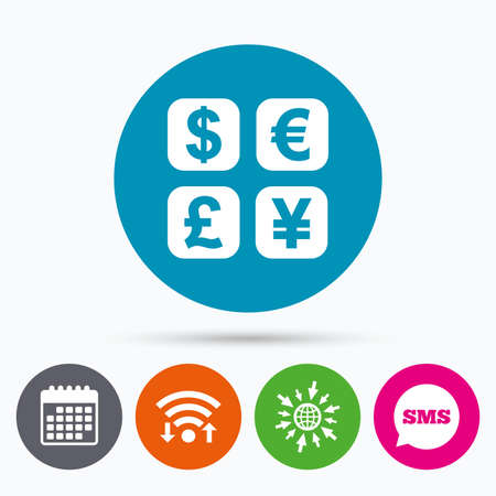 converter: Wifi, Sms and calendar icons. Currency exchange sign icon. Currency converter symbol. Money label. Go to web globe.