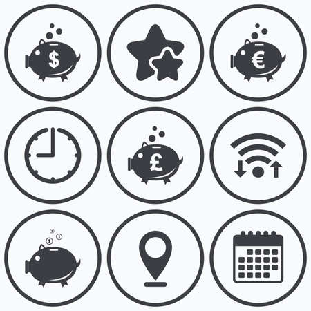 pound coin: Clock, wifi and stars icons. Piggy bank icons. Dollar, Euro and Pound moneybox signs. Cash coin money symbols. Calendar symbol. Illustration