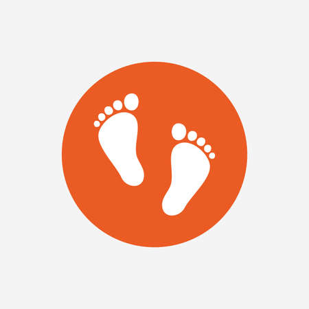 Child pair of footprint sign icon. Toddler barefoot symbol. Babys first steps. Orange circle button with icon. Vector