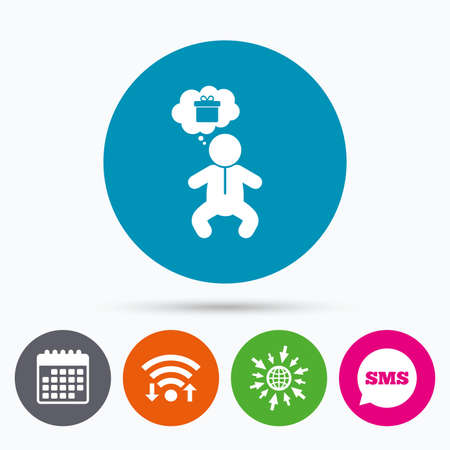 crawlers: Wifi, Sms and calendar icons. Baby infant think about gift box sign icon. Toddler boy in pajamas or crawlers body symbol. Go to web globe.