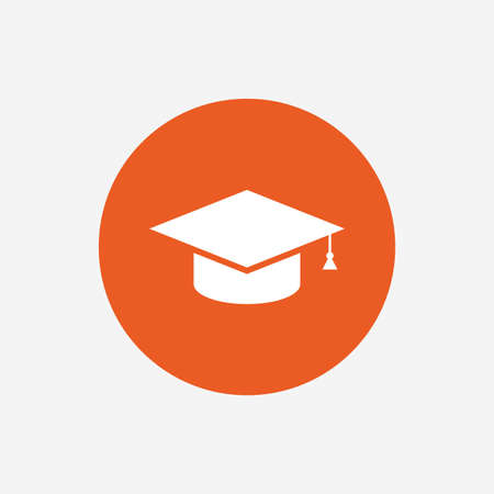 higher: Graduation cap sign icon. Higher education symbol. Orange circle button with icon. Vector