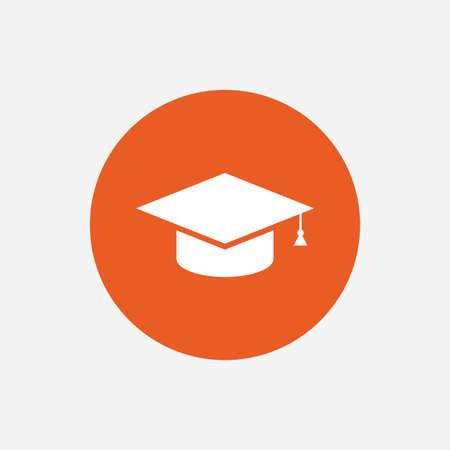 Graduation cap sign icon. Higher education symbol. Orange circle button with icon. Vector