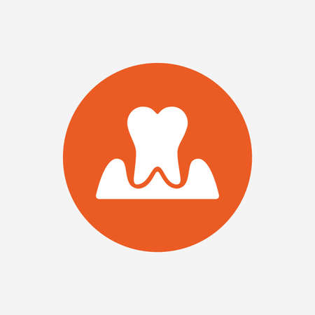 inflammation: Parodontosis tooth icon. Gingivitis sign. Inflammation of gums symbol. Orange circle button with icon. Vector Illustration