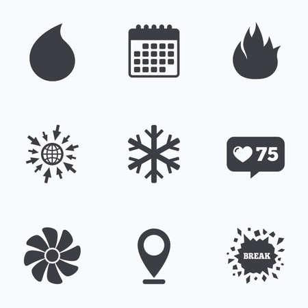 カウンターのようなカレンダー、web アイコンに進みます。空調のアイコン。暖房、換気およびエアコンのシンボル。水の供給。気候制御技術の兆候。場所のポインター。