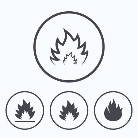 Fire flame icons. Heat symbols. Inflammable signs. Icons in circles.
