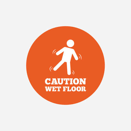 wet floor caution sign: Caution wet floor sign icon. Human falling symbol. Orange circle button with icon. Vector