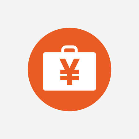 jpy: Case with Yen JPY sign icon. Briefcase button. Orange circle button with icon. Vector