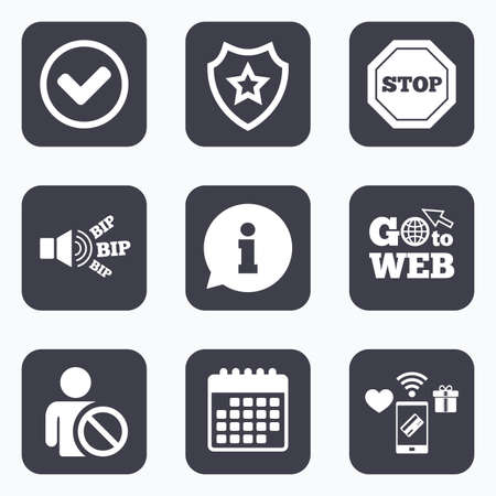 Mobile payments, wifi and calendar icons. Information icons. Stop prohibition and user blacklist signs. Approved check mark symbol. Go to web symbol.