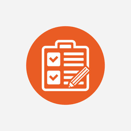 poll: Checklist with pencil sign icon. Control list symbol. Survey poll or questionnaire form. Orange circle button with icon. Vector