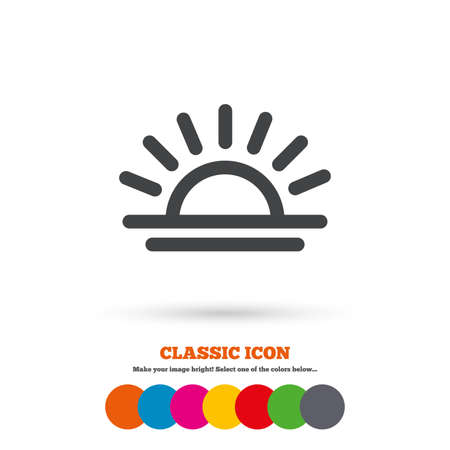 classic light bulb: Light on icon. Lamp bulb or sunset symbol. Classic flat icon. Colored circles.