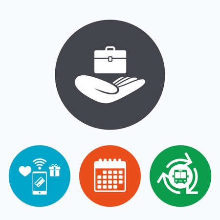 gift accident: Baggage insurance sign icon. Hand holds travel luggage. Protection from loss of baggage. Mobile payments, calendar and wifi icons. Bus shuttle. Illustration