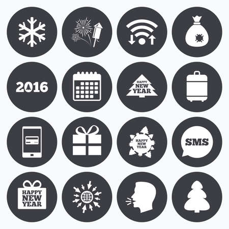 salut: Wifi, calendar and mobile payments. Christmas, new year icons. Gift box, fireworks and snowflake signs. Santa bag, salut and rocket symbols. Sms speech bubble, go to web symbols.