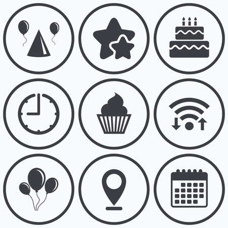 Clock, wifi and stars icons. Birthday party icons. Cake, balloon, hat and muffin signs. Celebration symbol. Cupcake sweet food. Calendar symbol. Banco de Imagens - 56173121