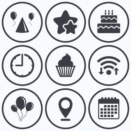 시계, wifi 및 별 아이콘입니다. 생일 파티 아이콘. 케이크, 풍선, 모자 및 머핀 간판. 축 하 기호입니다. 먹고 달콤한 음식. 달력 기호입니다.