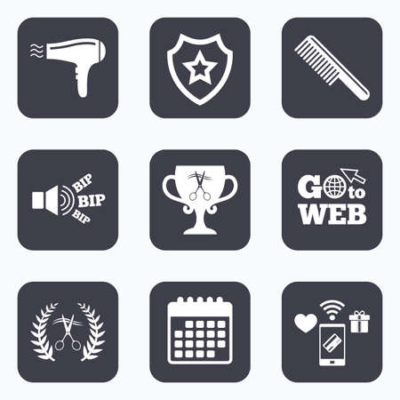 cut hair: Mobile payments, wifi and calendar icons. Hairdresser icons. Scissors cut hair symbol. Comb hair with hairdryer symbol. Barbershop laurel wreath winner award. Go to web symbol.