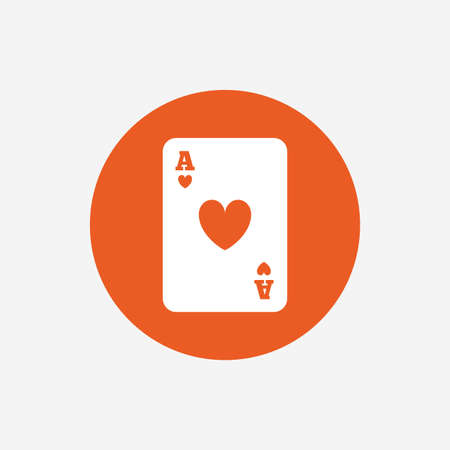 ace of hearts: Casino sign icon. Playing card symbol. Ace of hearts. Orange circle button with icon. Vector Illustration