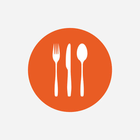 tablespoon: Fork, knife, tablespoon sign icon. Cutlery collection set symbol. Orange circle button with icon. Vector Illustration