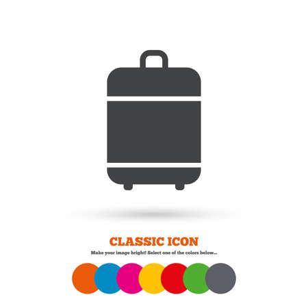 luggage bag: Travel luggage bag icon. Baggage symbol. Classic flat icon. Colored circles.