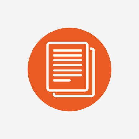 document icon: Copy file sign icon. Duplicate document symbol. Orange circle button with icon. Vector