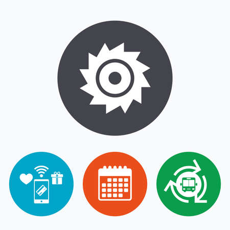 cutting blade: Saw circular wheel sign icon. Cutting blade symbol. Mobile payments, calendar and wifi icons. Bus shuttle.