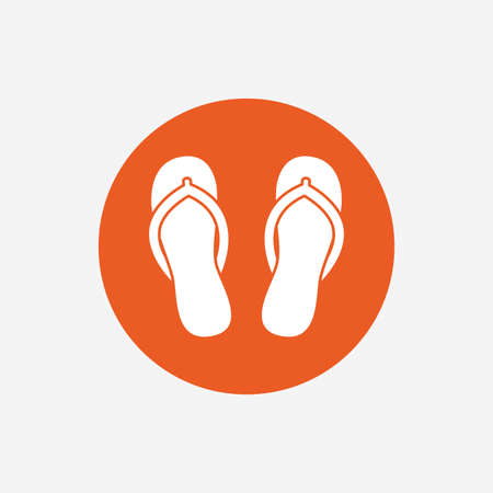 flipflops: Flip-flops sign icon. Beach shoes. Sand sandals. Orange circle button with icon. Vector
