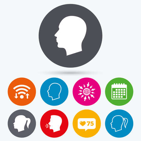 pigtail: Wifi, like counter and calendar icons. Head icons. Male and female human symbols. Woman with pigtail signs. Human talk, go to web.
