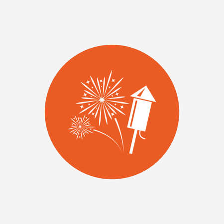 pyrotechnic: Fireworks with rocket sign icon. Explosive pyrotechnic symbol. Orange circle button with icon. Vector