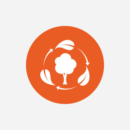 fresh air: Fresh air sign icon. Forest tree with leaves symbol. Orange circle button with icon. Vector