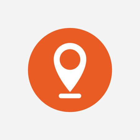 internet mark: Internet mark icon. Navigation pointer symbol. Position marker sign. Orange circle button with icon. Vector