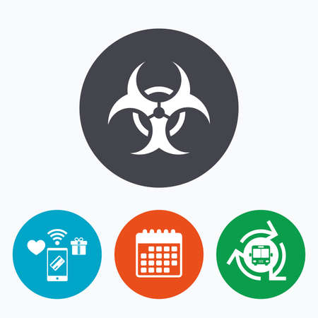 poison arrow: Biohazard sign icon. Danger symbol. Mobile payments, calendar and wifi icons. Bus shuttle. Illustration