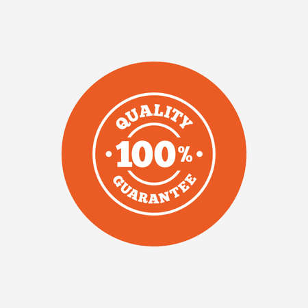 quality guarantee: 100% quality guarantee sign icon. Premium quality symbol. Orange circle button with icon. Vector Illustration