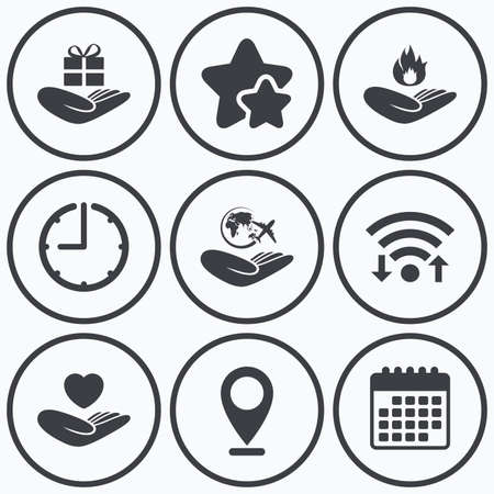 best shelter: Clock, wifi and stars icons. Helping hands icons. Health and travel trip insurance symbols. Gift present box sign. Fire protection. Calendar symbol.
