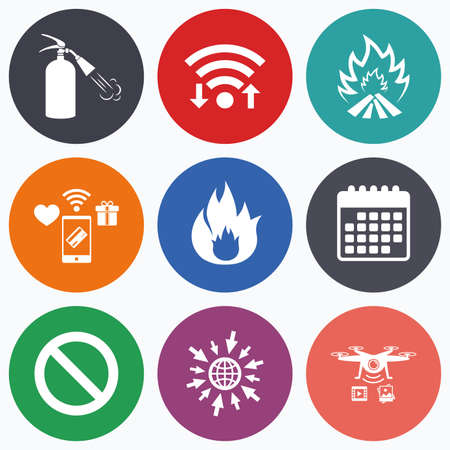 fire extinguisher sign: Wifi, mobile payments and drones icons. Fire flame icons. Fire extinguisher sign. Prohibition stop symbol. Calendar symbol.