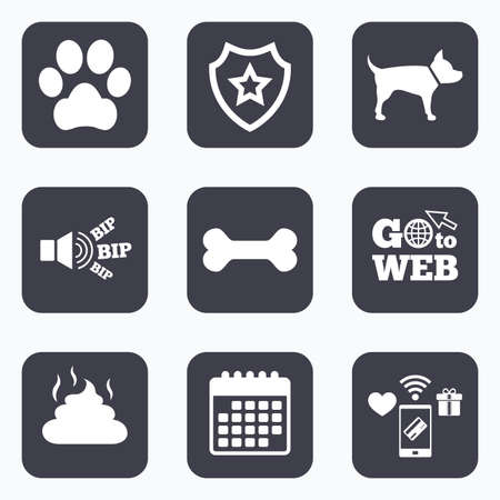 faeces: Mobile payments, wifi and calendar icons. Pets icons. Dog paw and feces signs. Clean up after pets. Pets food. Go to web symbol.