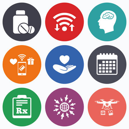 rx: Wifi, mobile payments and drones icons. Medicine icons. Medical tablets bottle, head with brain, prescription Rx signs. Pharmacy or medicine symbol. Hand holds heart. Calendar symbol.