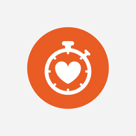 palpitation: Heart Timer sign icon. Stopwatch symbol. Heartbeat palpitation. Orange circle button with icon. Vector Illustration