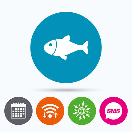 flipper: Wifi, Sms and calendar icons. Fish sign icon. Fishing symbol. Go to web globe. Illustration