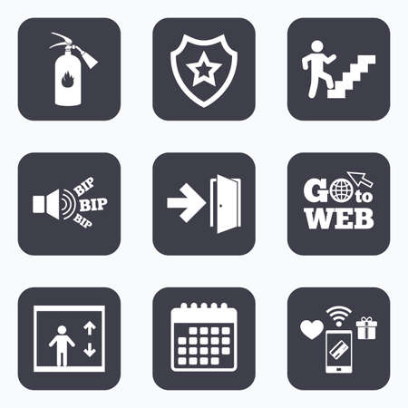 Mobile payments, wifi and calendar icons. Emergency exit icons. Fire extinguisher sign. Elevator or lift symbol. Fire exit through the stairwell. Go to web symbol.