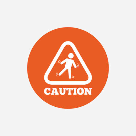 wet floor caution sign: Caution wet floor sign icon. Human falling triangle symbol. Orange circle button with icon. Vector