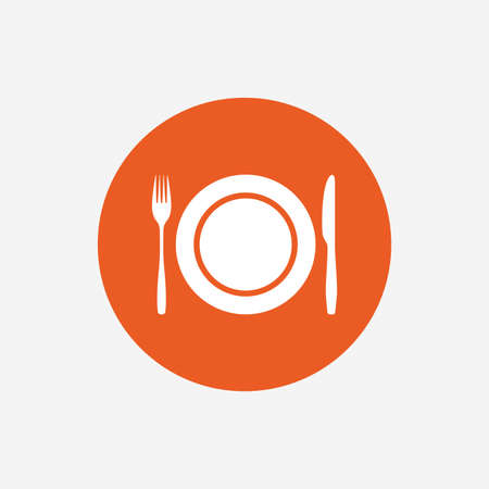 etiquette: Plate dish with fork and knife. Eat sign icon. Cutlery etiquette rules symbol. Orange circle button with icon. Vector