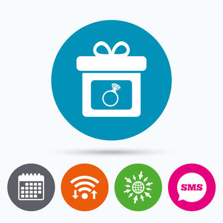 web engagement: Wifi, Sms and calendar icons. Gift box sign icon. Present with engagement ring symbol. Go to web globe.
