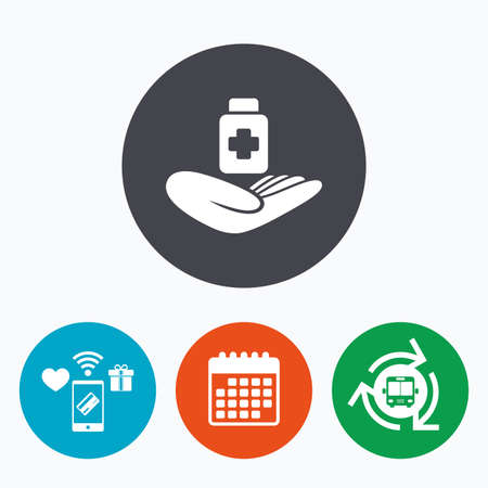 doctor holding gift: Medical insurance sign icon. Health insurance. Drugs or pills bottle. Mobile payments, calendar and wifi icons. Bus shuttle.
