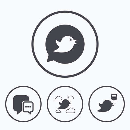 three dots: Birds icons. Social media speech bubble. Chat bubble with three dots symbol. Icons in circles.